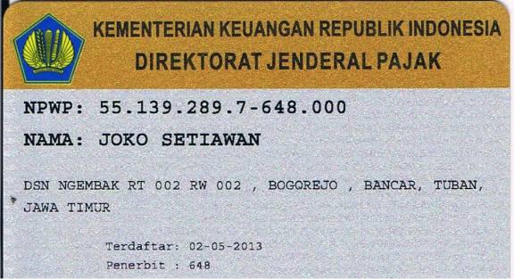 Kartu NPWP Joko Setiawan