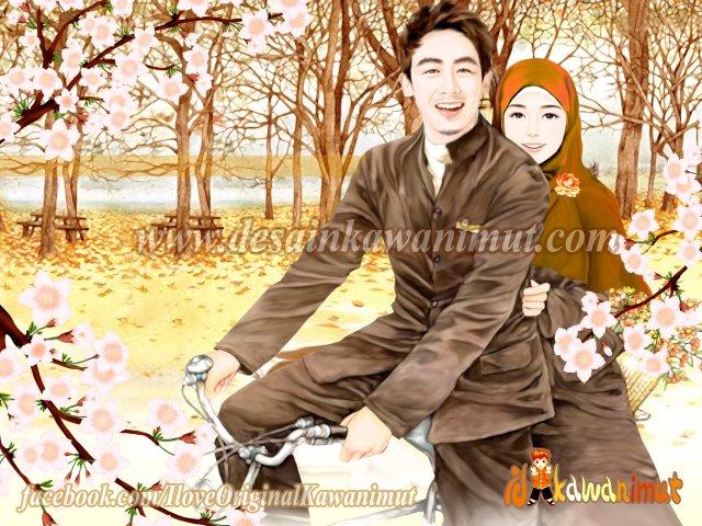 Boncengan sepeda di bawah bunga sakura
