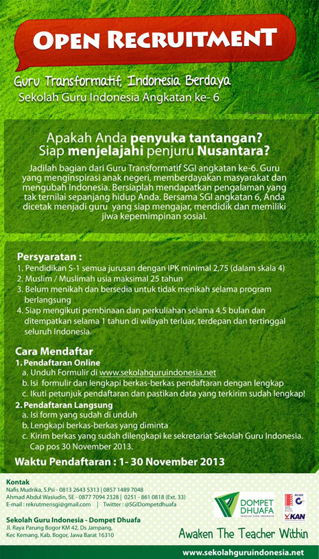 Oprec Sekolah Guru Indonesia Dompet Dhuafa 1-30 Nov 2013