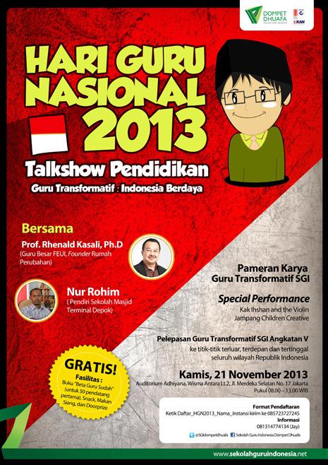 Talkshow Pendidikan SGI Dompet Dhuafa 21 Nov 2013