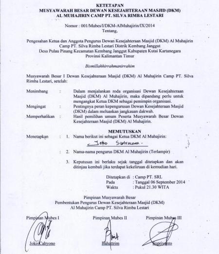 07 Sept 14_Ketetapan Ketua dan Pengurus DKM Al Muhajirin 2014-2015