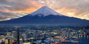 surreal view of Yokohama and Mt. Fuji